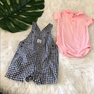 Carters | gingham + pink overall set